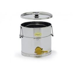 Stáčecí nádoba nerezová na 25kg s plastovým kohoutem